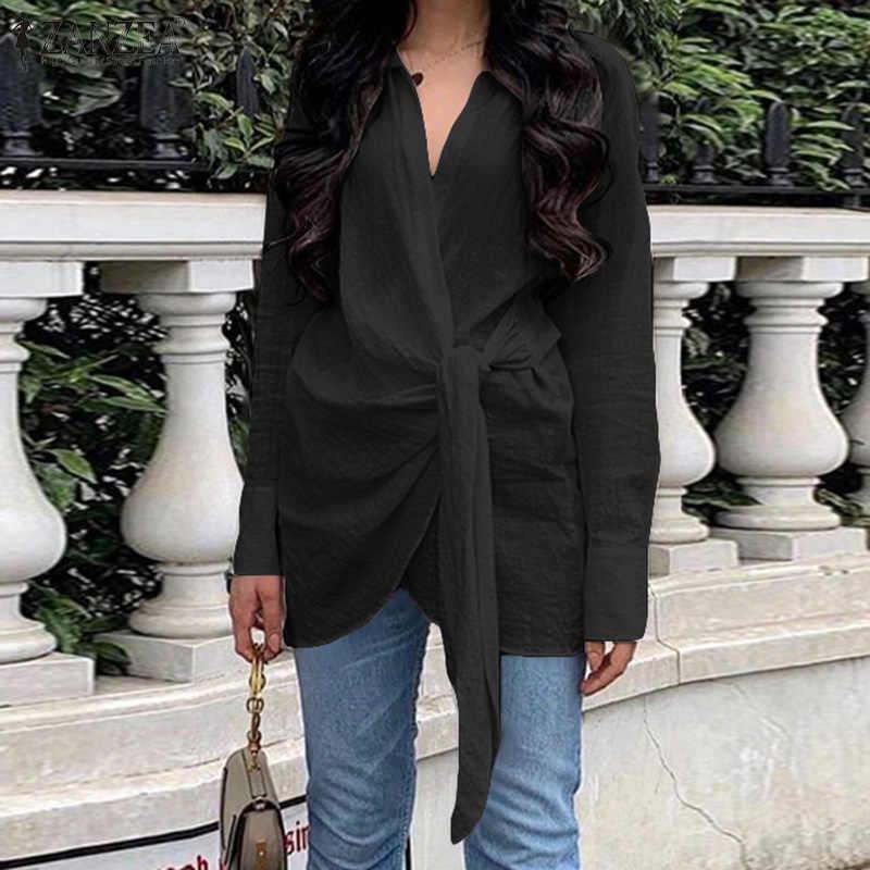 Zanzea mulheres à moda alças blusa lapela pescoço manga longa camisa feminina casual sólido tops blusas de algodão chemiser mujer plus size