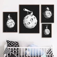 Astronaut Telescope Moon Black White Nordic Posters And Prints Wall Art Canvas Painting Cartoon Pictures Kids Room Decor