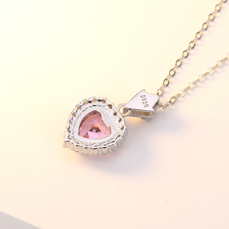 WEIGARSTI Unique Design Heart Pink Crystal Pendant Necklace 925 Sterling Silver Fashion Jewelry Wedding For Women Fine Jewelry