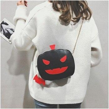 Calabaza de Halloween diseño de cadena de las mujeres bolso cuadrado pequeño bolso de mensajero de cuero bolso de hombro bolsos cruzada cuerpo de la bolsa
