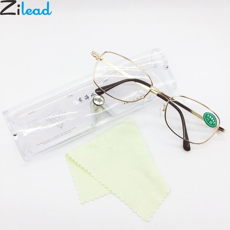 Zilead Classic Metal Gold Glass Reading Glasses Transparent Lens Prebyopia Spectacles Hyperopia Eyeglasses Eyewear For Men Women
