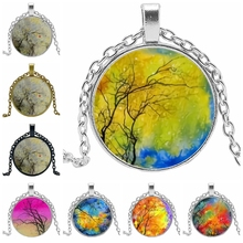 HOT! 2019 Statement Necklace Fashion Life Tree Glass Convex Round Pendant Necklace Charm Girl Jewelry