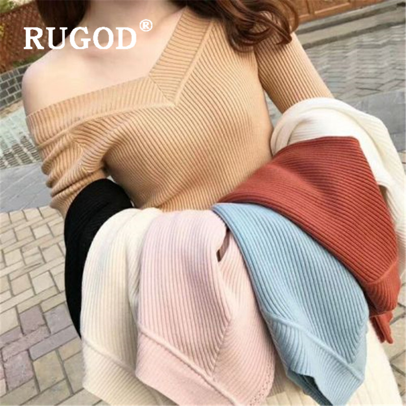 RUGOD Vintage Mutil Color Knitted Women Sweater 2019 Elegant New V Neck Slim Pullovers Office Ladies Wear Auturm Sweaters