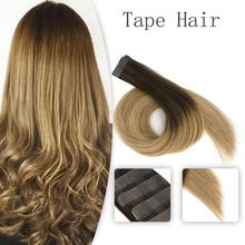 Vlasy 16'' 20'' Seamless Straight Remy Tape In Human Hair Double Drawn Skin Weft Tape In Human Hair Extensions Balayage Color