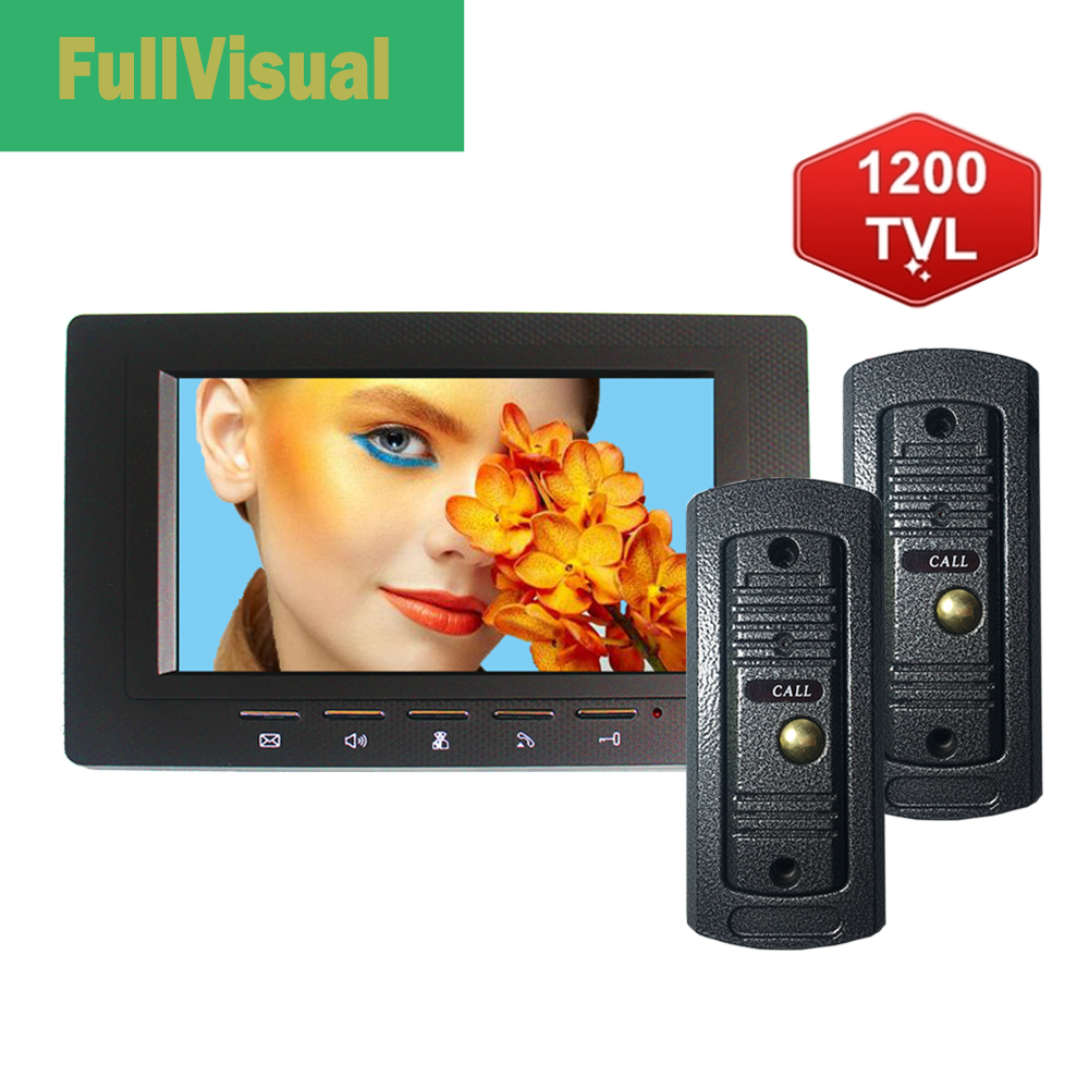 Fullvisual 7 Inch Video Door Phone Camera Wired Doorbell Intercom System Unlock Talk 1200TVL Day Night Vision IR Led