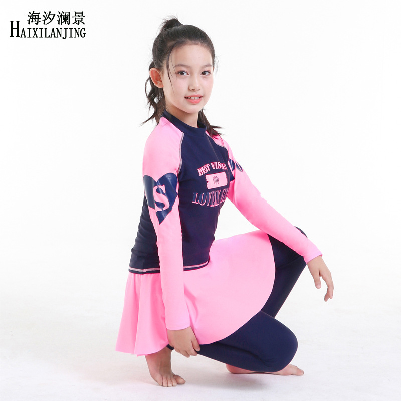 Hai Xi Lan Jing 2019 New Style GIRL'S Swimsuit Big Boy 12-15-Year-Old Students Diving Long Sleeve Trousers Jellyfish Clothing