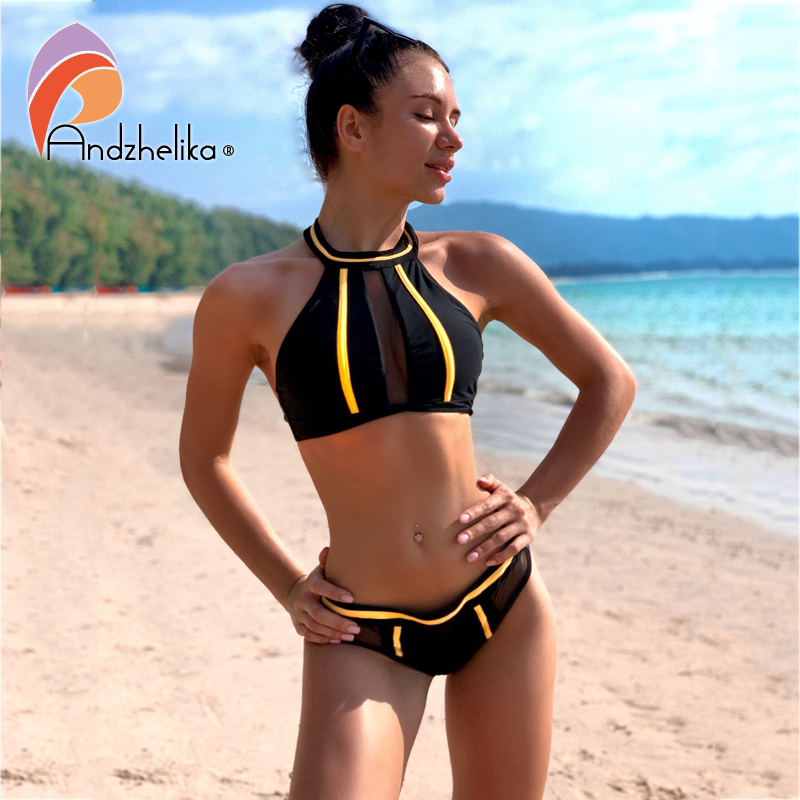 Andzhelika New Sexy Strapless Girls Bikini Set  Mesh Pacthwork Backless Swimsuit Brazilian Summer Beach Bathing Suit Monokini