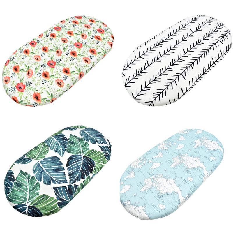 24BE Baby Moses Basket Sheets Crib Care Changing Pad Mattress Removable Cover Printed Mini Cradle Protector