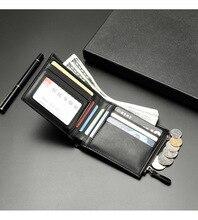 2020 Small Leather Slim Wallets Mini Wallets Card Holder Men Wallets Money Bag Male Vintage Black Short Purse  Zipper Coin Purse