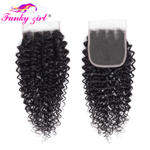 Image 5 - Funky Girl Malaysia Kinky Curly Hair 3 or 4 Bundles with Closure Free Part Human Hair Weave Bundles With Closure Non Remy Hair