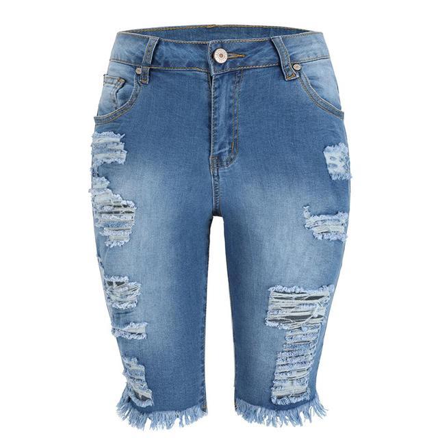 Delle Donne Aumento Medio Elastico Denim Shorts di Lunghezza Del Ginocchio Curvy Bermuda Breve Tratto Jeans 4