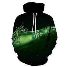 Hoodie Mens 3D Sweatshirt 3d Print Green Bottle Fashion Autumn Winter Street Clothing Beer Casual Style