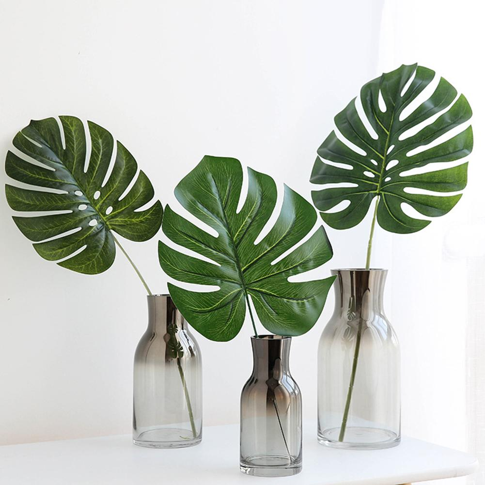 Nordic Style Fake Monstera Green Leaf Plant Green Artificial Leaves Home Office Decoration Paste Craft False Artificial Plants