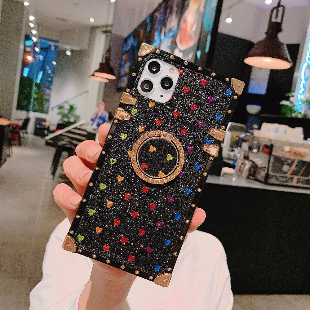 Cases For iPhone 11 Pro Max Xr Xs Max Coque Square Diamond Stand Love Heart Bling Sequins Case For iPhone X 6 6S 7 8 Plus Cover (6)