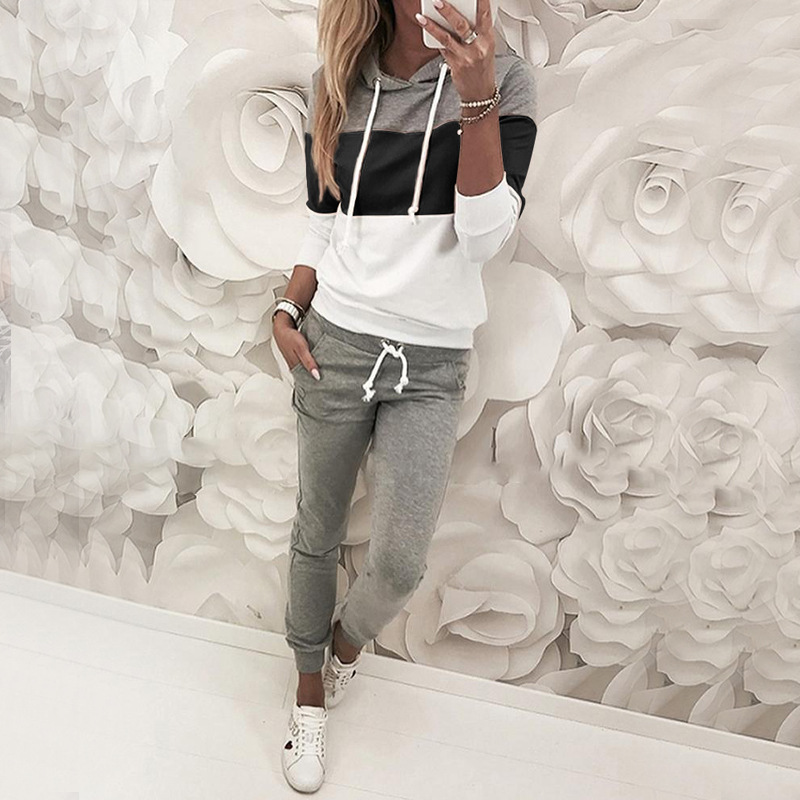 Sweatsuit New Autumn Winter Casual 2 Piece Outfits Women Sweat Suits Patchwork Hooded Hoodie Pants Tracksuit Two Piece Set G1172