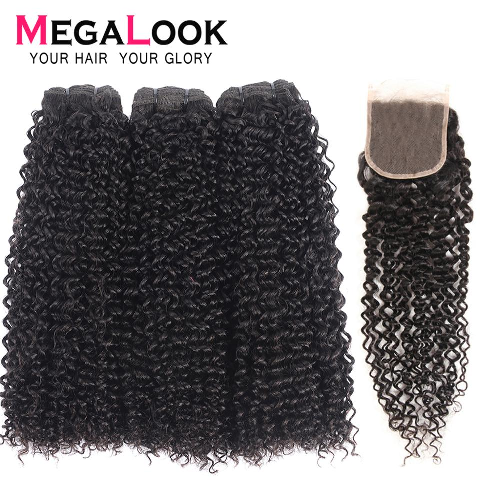 Kinky Curly Human Hair Bundles With Closure 3 4 Brazilian Hair Weave Bundles Virgin Hair Double Drawn Megalook Natural Color