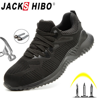 JACKSHIBO Men Safety Work Shoes Boots Male Autumn Steel Toe Boots Anti-Smashing Protective Construction Safety Work Sneakers