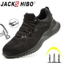 Jackshibo botas de segurança, botas masculinas de segurança do trabalho, para o outono, tênis anti esmagamento, tênis de segurança do trabalho