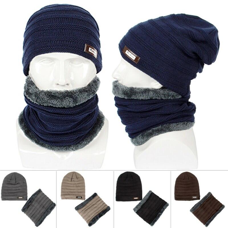 Unisex Warm Knitting Beanie Hat Neck Warmer Men Women Winter Warm Beanie Knit Hat Slouchy Cuff Skull Ski Cap Neck Warmer Set