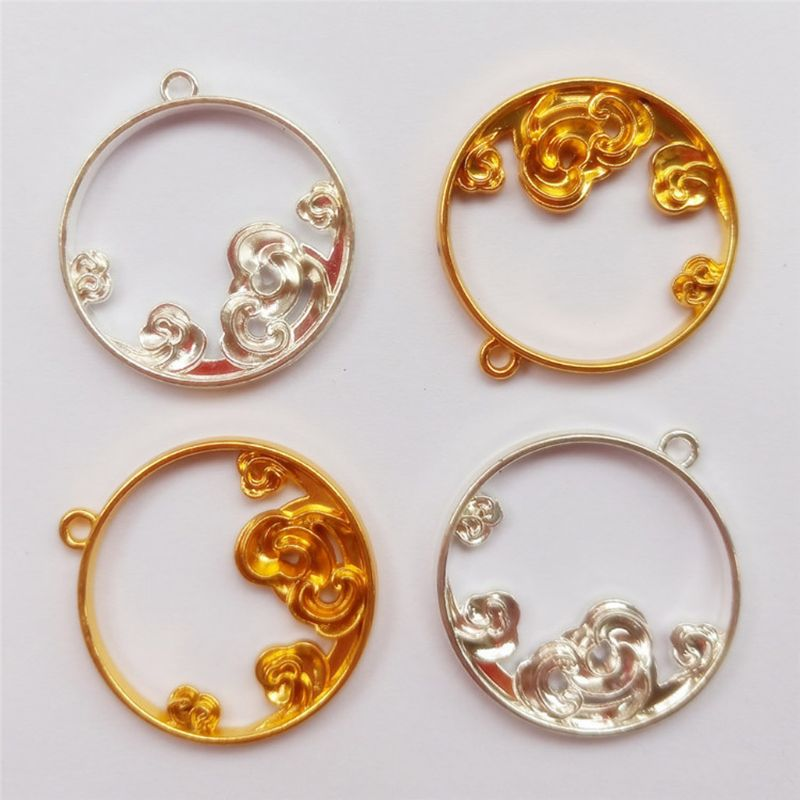 5Pcs Luck Clouds Round Resin Frames Pendant Bezel Setting Resin Jewelry Making