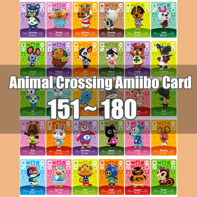 Animal Crossing Amiibo Card Animal Crossing New Horizons Game NFC Lobo Card Work For NS 3DS Game Switch Series 2 (151-180)