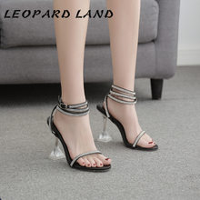 LEOPARD LAND 2020 New Transparent High-heeled Sandals Sexy Rhinestone Straps Banquet Women's Shoes Fine Heel Hollow Sandals JXQ(China)