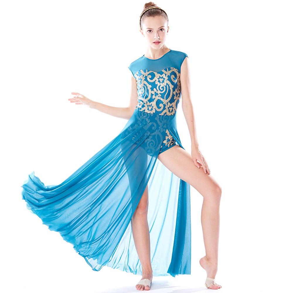Women dress ballerina ballet dress lyrical dance dress dance costumes sequin long dance mesh skirt tutu girls stage dancewear