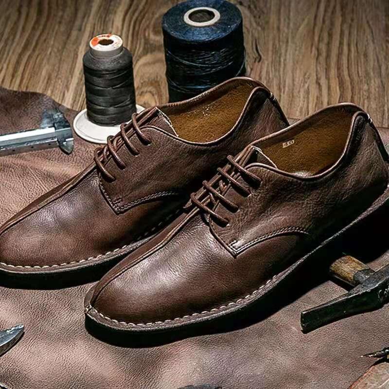 Hot Sale Men Leather Shoes Lace Up Casual Shoes Dress Shoes Brogue Shoes Spring Ankle Boots Vintage Classic Male Casual D218