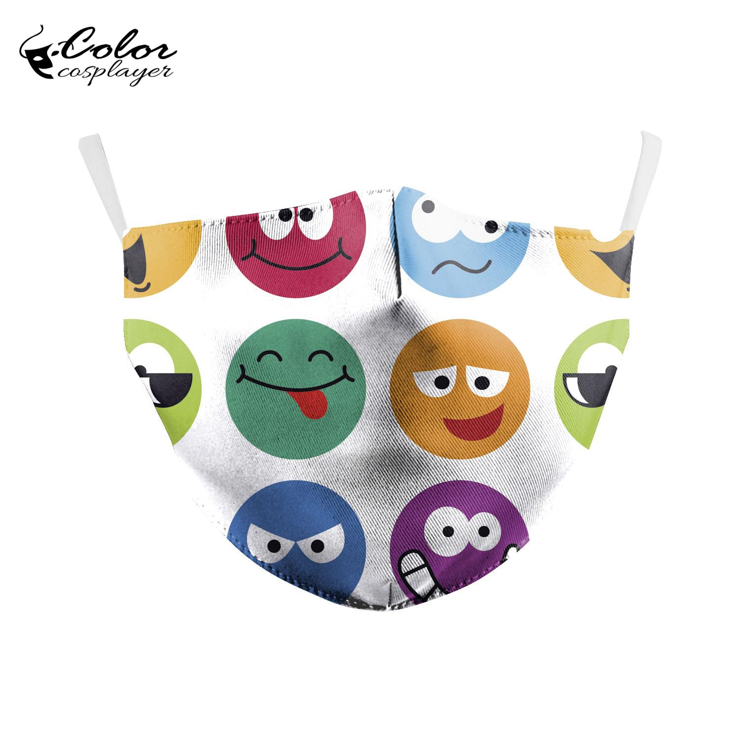 Color Cosplayer Smiley Face Masks On The Mouth Reusable Printed Anti-fog Dust Face Masks  Adult Washable Mouth Cover
