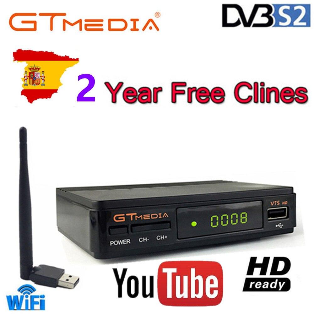 Hot DVB-S2 V7 Freesat hd Com USB WI-FI FTA Receptor de TV Suporte Europa CCCAM cline gtmedia v7s power by freesat compartilhamento de rede