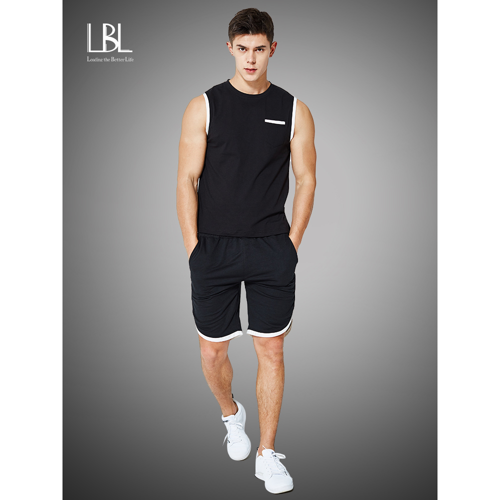 Summer Vest Set Men Sleeveless T Shirts Tracksuits Two Piece Tops + Shorts Suit Sportswear Set Mens Short Sets Male Tracksuit