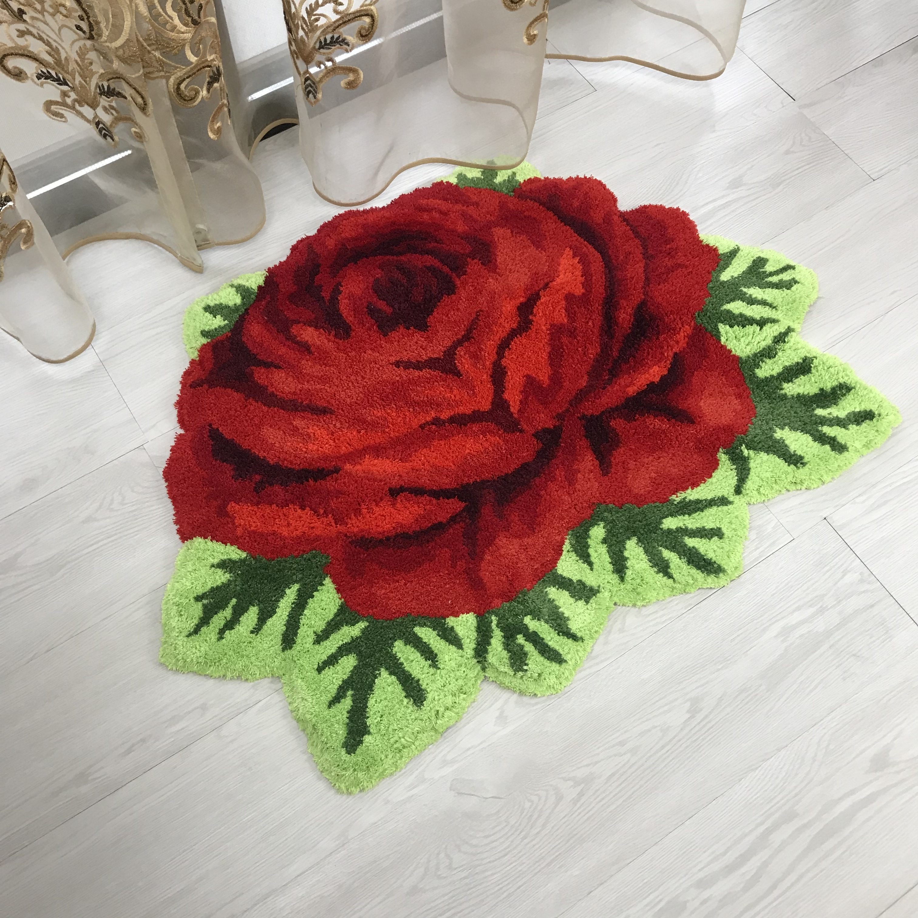 New Arrival Free Shipping Red Rose Shape Anti-slip Rug Art Rug Rose Carpet 70*60cm