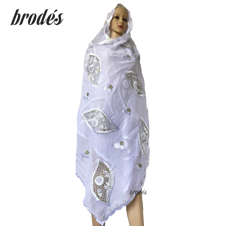 High Quality African Women Scarfs Muslim Embroidery Soft Cotton Splicing Big Scarf For Shawls Wraps Pashmina