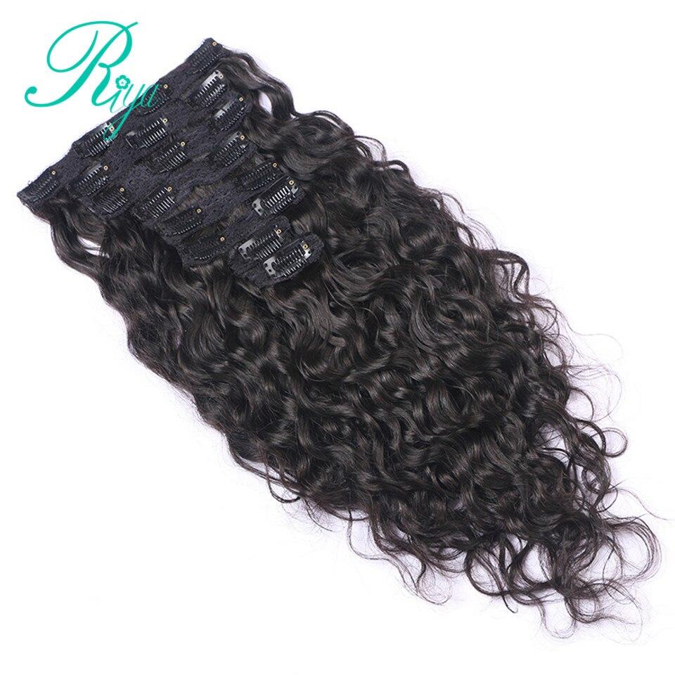 Grampo em 100% extensões de cabelo humano cabeça cheia onda natural clipe ins cor preta natural 8 peças e 120 g/conjunto remy cabelo indiano