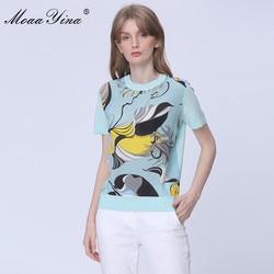 MoaaYina, модные, весна-осень, короткий рукав, вязаные топы, женские, элегантное голубое небо, принт, шелк, шерсть, свитер, пуловеры