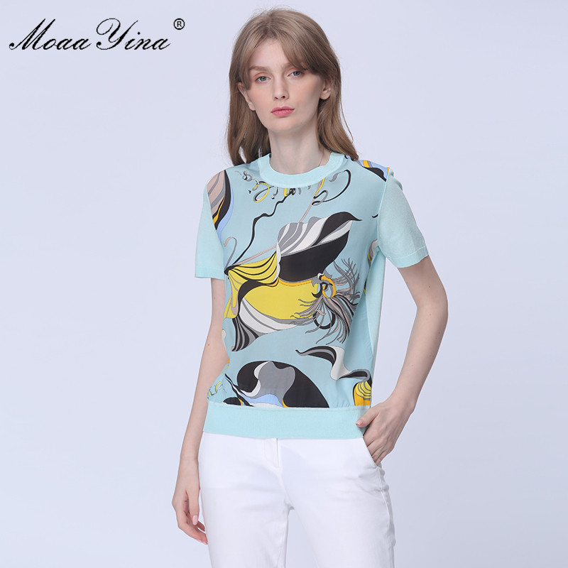 MoaaYina Fashion Spring Autumn Short Sleeve Knitting Tops Women's Elegant Sky Blue Print Silk Wool Sweater Pullovers