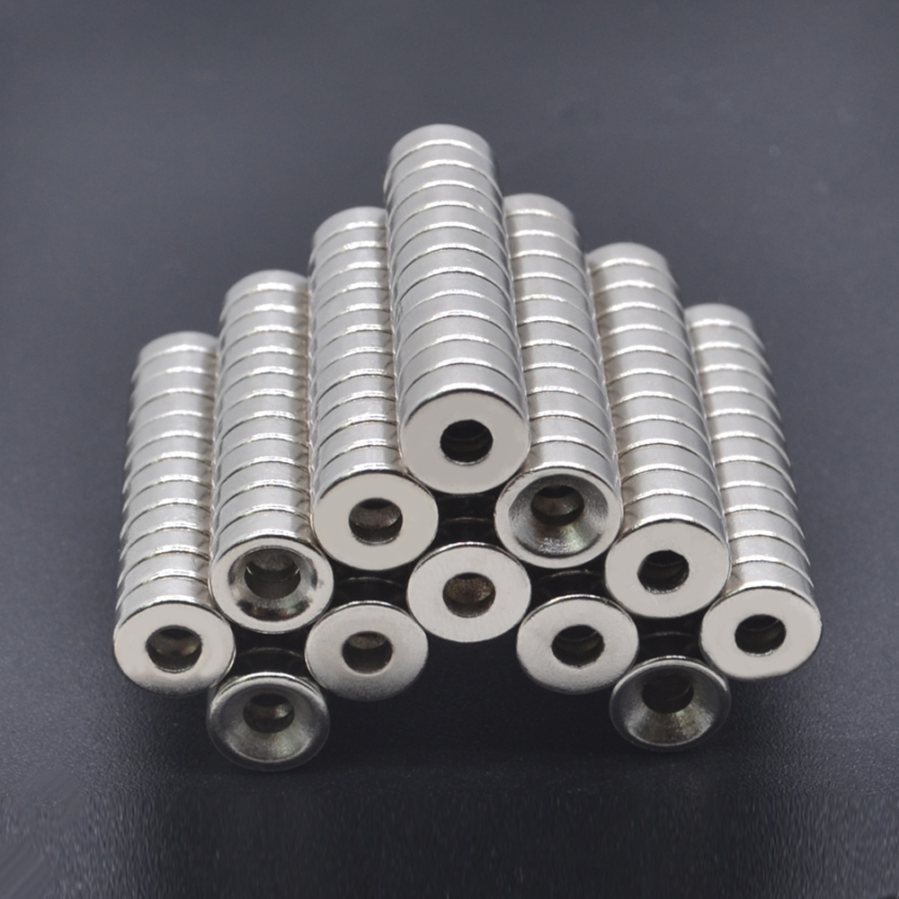 10pcs 8x3mm Hole <font><b>3</b></font> <font><b>mm</b></font> Super Strong <font><b>Ring</b></font> Loop Countersunk Magnet Rare Earth Neo Neodymium Magnets Cylinder image