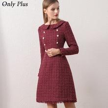 Only Plus OL Woolen Winter Dress For Women Peter Pan Collar Tweed Dress Vintage Wool Plaid Wine Dresses Warm Elegant Button