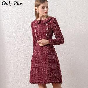 Image 1 - Only Plus OL Woolen Winter Dress For Women Peter Pan Collar Tweed Dress Vintage Wool Plaid Wine Dresses Warm Elegant Button