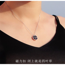 цена на Korean Pop Multicolor Double Sided  Lucky Four-leaf Clover Pendant Necklace For Women Delicate Rose Gold Chain Fashion Necklace