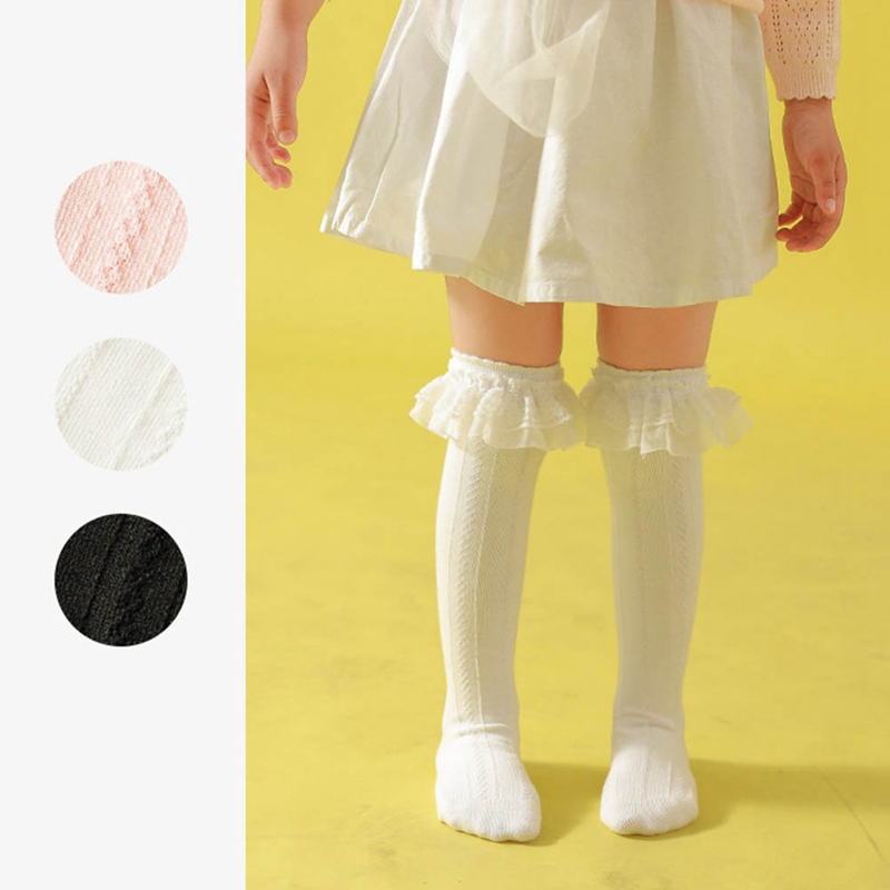 Solid Color Double Lace Children's Socks Long Tube Cotton Socks Kids Girls Clothing Socks