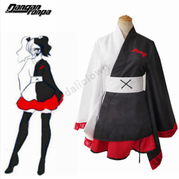 Anime Danganronpa Monokuma Cosplay Pinafore Japanese Kimono Women Female Dresses Halloween Cosplay Costume Custom Made vintage traditional female silk rayon kimono yukata with obi sexy purple japanese women evening dress halloween cosplay costume