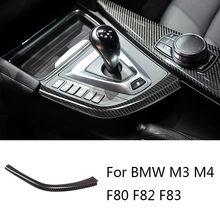 Real do deslocamento de engrenagem do carro da fibra do carbono l forma tiras guarnição para bmw f80 f82 f83 m3 m4 2014-2018 lhd acessórios
