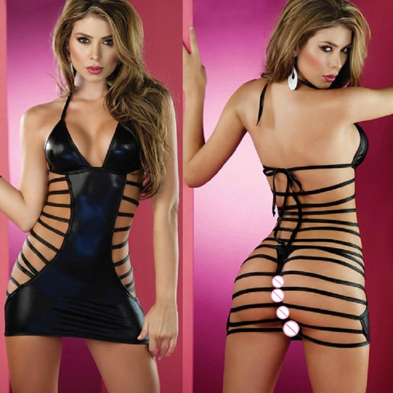 Frauen Sexy Glänzend Faux Leder Body Heißer Erotische Latex Multi Strap Damen Hohe Elastische Porno Backless Bodycon Halter Tops Sexi