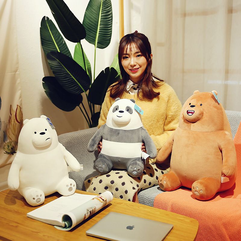 Dibujos animados de Anime de los Tres Osos desnudos de 28CM, juguetes de peluche, panda lindo Kawaii que se siente oso Polar, animal de peluche suave, almohada para niños Lote de 8 unidades de figuras de acción de Panda, Panda, Mini modelo de PVC para niños, juguetes de animales para niños, regalos de cumpleaños
