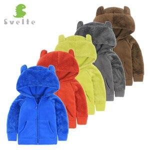Image 3 - Svelte outono inverno para crianças para meninos pele de lã macia com capuz meninas jaqueta com capuz outerwear casaco roupas com orelhas de urso dos desenhos animados