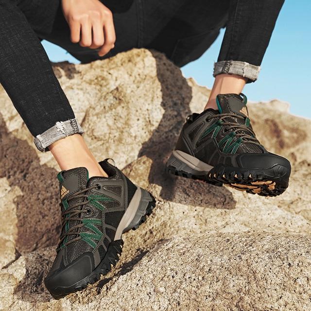 HIKEUP 2020 Summer Men Hiking Shoes Mesh Fabric Mountain Climbing Shoes Outdoor Trekking Sneakers Fishing Hunting Boots For Men 4