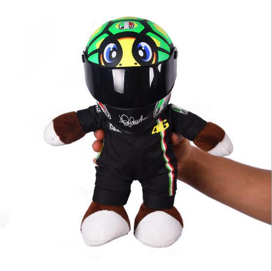 Motorcycle Helmet Racing Bear Doll Stuffed Animals Toys Wear A Small Helmet Doll Motorcycle Doll Fit for Benelli Racing