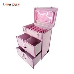Aluminium rahmen + PVC Kommode Kosmetische Fall, Make-Up werkzeug Koffer Box, Roll Make-up Trolley Gepäck Tasche