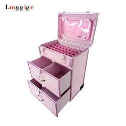Aluminum frame+PVC Dresser Cosmetic Case,Makeup tool  Suitcase Box ,Rolling Make-up Trolley Luggage Bag